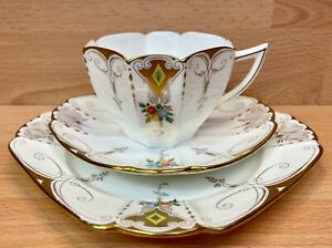 "Shelley Queen Anne Shape ""Diamonds"" Pattern 11642 Tea Cup Trio."