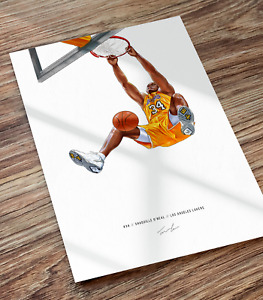 Shaquille O'Neal Shaq Los Angeles Lakers Dunking Illustrated Print Poster Art