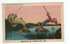 CANADA Farrellton Quebec Antique 1948 Comic Post Card Man & Big Fish