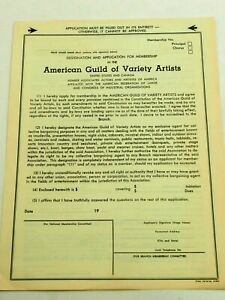 American Guild of Variety Artist Application for Membership