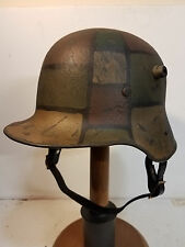 WWI German M16 Camo Helmet with aged liner