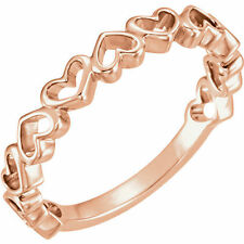 Connected Open Hearts Band Design Ring made in solid 14K. Rose Gold Sz 7 Sizable
