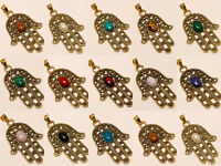 Amazing Wholesale Lot 925 Tibetan Brass 10Pcs Pendant Gemstone Jewelry