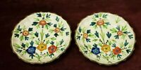 "Cantagalli Pottery Italy Set of 2 Plates 7-1/2"" Vibrant Flowers"