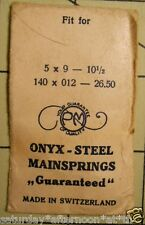 "Vintage NOS PM ONYX-STEEL Watch Mainspring 5 X 9 10 1/2"" Metric 140 X 012 X 26.5"