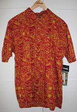 NEW Men's DAKINE Aloha HAWAIIAN Shirt - Burgundy, Orange, Yellow - LARGE