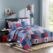 Reversible Quilted Cotton Patchwork Coverlet Bedspread 2pc Set Single MPK006