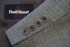 Paul Stuart SB STUART Brown Checkerboard Plaid Silk Linen Wool Sport Coat 42L