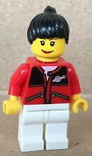 Lego Figur Town Mann Tankwart schwarze Lederjacke braune Haare shell011 1254