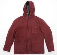 Burton Mens Size M Cotton Blend Burgundy Hooded Coat