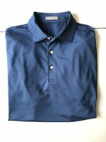 Peter Millar Summer Comfort Mens Large Short Sleeve Golf Polo Shirt Navy Blue
