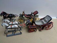 Vintage 2 Horse Drawn Military Carriage Metal Miniature Heyde, Wollner Austria