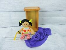 "Handmade Fabric Doll In 10"" Wooden Cradle With Blanket New Childs Gift"