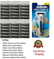 31 Cartridges Fit Gillette Sensor 3 Excel blade Razor Shaver 30 Refills Made USA