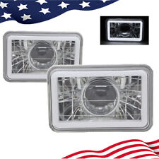 "4x6"" White CCFL Halo Clear Lens Diamond Cut Sealed Beam Projector Headlight"