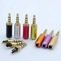 Gold 4 Pole 3.5mm Male Repair Headphone Jack Plug Metal Audio Soldering HQ