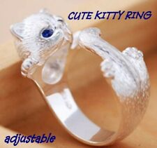 Alloy Silver Cute Kitty Adjustable Ring