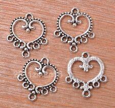20pcs Tibetan silver heart charm earring Connectors Jewelry making 19x21mm B3132