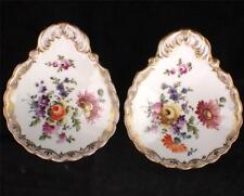 PAIR ANTIQUE GERMAN DRESDEN PORCELAIN SCROLL DISHES HAND PAINTED DRESDEN SPRAYS