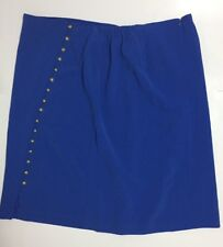 TALBOTS Classic A-Style Blue Knee-length Skirt Gold Buttons (lined) Size 20 NWT
