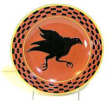 Redware Platter With Black Crow And Checkerboard Design, Country Primitive