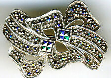 """925 STERLING SILVER BROOCH MARCASITE LARGE BOW STYLE BROOCH  39mm  (1.1/2"""")"""