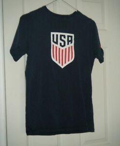 USA Nike National Soccer Team Logo Graphic Blue Logo T-Shirt Size Kids XL Used