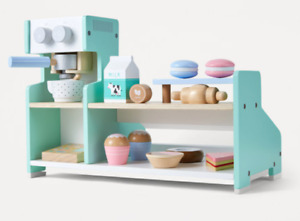 New double sided wooden coffee shop with donut macaron croissant pretend playset