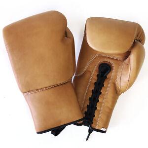 Boxhandschuhe Schnürung Echtes Leder Handcrafted 12 oz Retro Vintage Hell MMA
