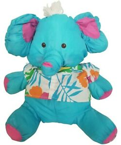 Vintage 1987 Fisher Price Puffalump Blue Elephant Hawaiian Shirt Stuffed Plush