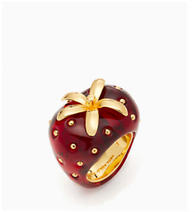 Kate Spade picnic perfect red strawberry gold plated resin ring size 7, 8 +pouch