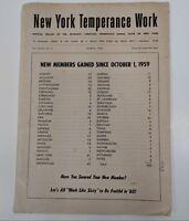 New York Temperance Work Offician Organ 1960 March Handout Flyer Pamphlet