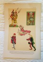 Rare c. 1887 Germany Chromolithograph Print Costumes Playing Card Leipzig Mint