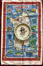 Vintage SARDEGNA Pottery Plate Cloth Italy Sardinia Souvenir Map Island Table