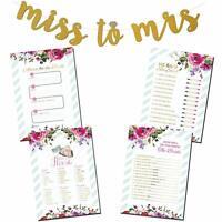 4 Bridal Shower Party Games Bundle set w/ Bonus Miss to Mrs. Gold Glitter Banner