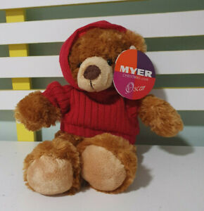 MYER TEDDY BEAR OSCAR RED HOODIE 2006 CHRISTMAS TEDDY BEAR 32CM!