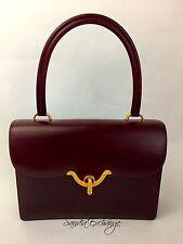 Vintage HERMÈS Bordeaux Rouge Box Calf Handbag Gold Hardware Classic