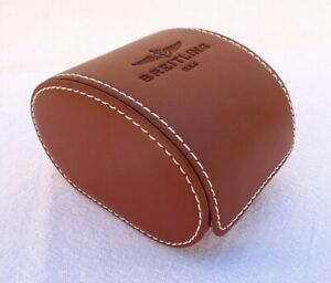 GENUINE LEATHER BREITLING WATCH STORAGE CASE SADDLE BROWN NO PILLOW UNUSED