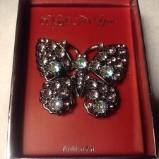 New In Box Auroa Borealis Rhinestone Butterfly Brooch Pin