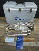 King 1124SP Ultimate Series Marching Baritone Horn, Silver Plate, New Old Stock