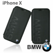BMW Signature Debossed Leder iPhone X, iPhone Xs SCHUTZHÜLLE Book Case Schwarz