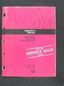 ORIGINAL 1975 JOHN DEERE 66 & 68 RIDING MOWER OPERATORS MANUAL VERY CLEAN