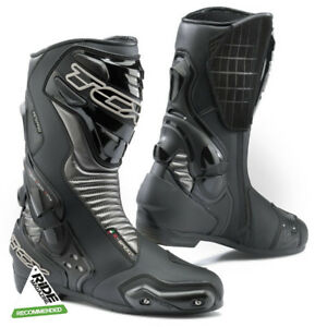 TCX S-SPEED Pelle SPORTS Touring Moto Impermeabile Stivali - Nero/Grafite