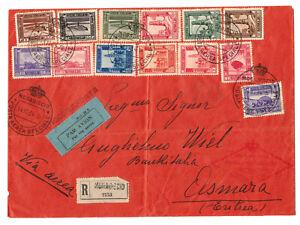 R-Brief 1934 Somalia nach Asmara Eritrea Luftpost Frankatur Italienische Kolonie