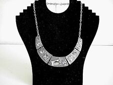 Fashion Round & Square Crystals on Silver Plates Fashion Statement Necklace