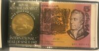 First Five Dollar Banknote & Year of Space Coin in Folder