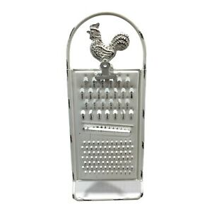 Recipe Stand Note Memo Holder Farmhouse Decor White Metal Rooster