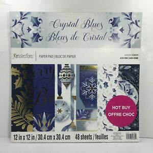 Recollections Paper Pad 12x12 Christmas Crystal Blues Scrapbook 48 Pcs Holiday