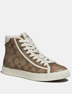 Coach Women's C207 High Top Sneaker Shoes in Signature Coated Canvas - Khaki