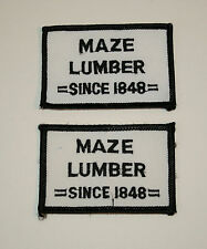 Lot of 2 Vintage Maze Lumber Hardware 1848 Illinois Store Patch New NOS 1970s